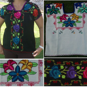 Hand Embroidery mexican Blouse Guanengo, Boho chic top, Folk Fabric flowers, Kimona blouse, Mexican tunic traditional embroidery