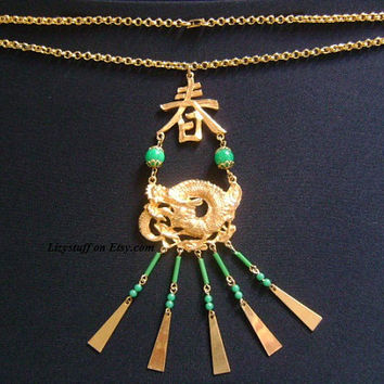 ART Striking DRAGON Oriental Asian Pagoda Chinese Symbols Motifs Green Faux Jade Acrylic Bead Dangling Charm Pendant/Chain Necklace Stunning