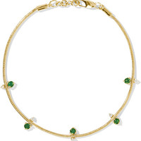 Jemma Wynne - 18-karat gold, emerald and diamond bracelet