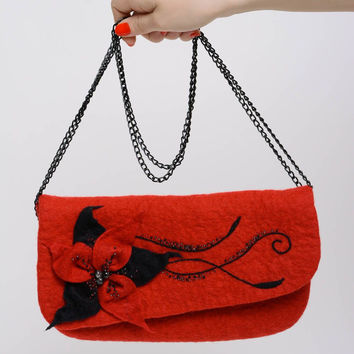 Red handbag wool felting purse Women's accessories Costume purse Small bag