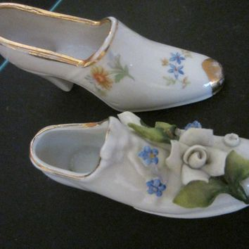 Miniature Porcelain Shoes Hand Decorated Marked Germany
