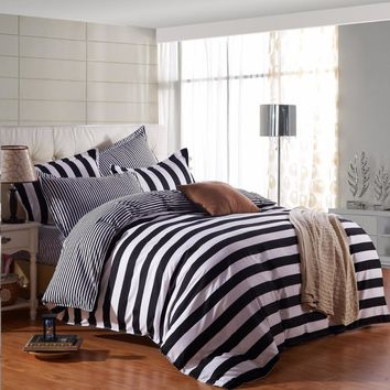 Black And White Stripe Pattern 4Pcs Duvet Cover Flat Bed Sheets+Pillowcase King Queen Full Twin Bedding Set Bedding Set Soft