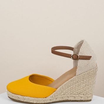 Ankle Band Jute Wrapped Espadrille Wedges