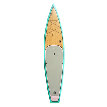 EVOLVE PADDLEBOARD W BAMBOO INLAY 12'6 X 30 TOURING TEAL / PINK