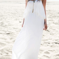 Solid Chiffon Tassel Maxi Strap Dress