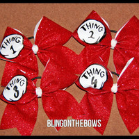 Thing 1,2,3 and 4 glitter cheer bow set