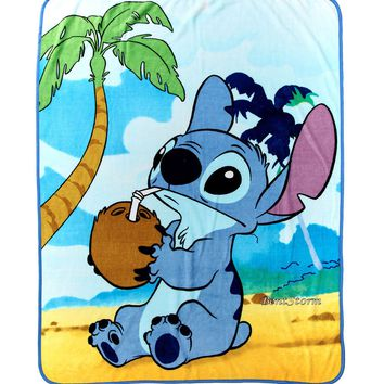 "Licensed cool Disney LILO & STITCH HAWAII Throw Blanket Plush Soft ""COCONUT""  48"" x 60"" NWT"