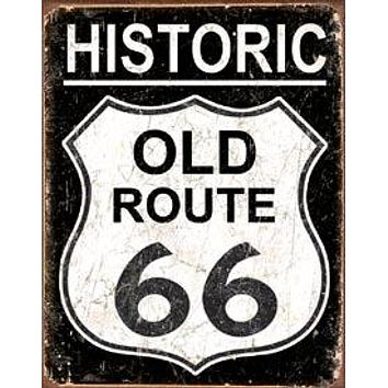 Tin Sign Old Route 66 - Weathered