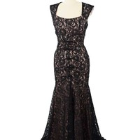 Black Sequined Floral Lace Blush Jersey Cap Sleeve Gown