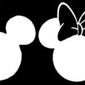 "Mickey and Minnie Mouse Heads Set/4 Car Window Decal Sticker White 7"" Many Colors"