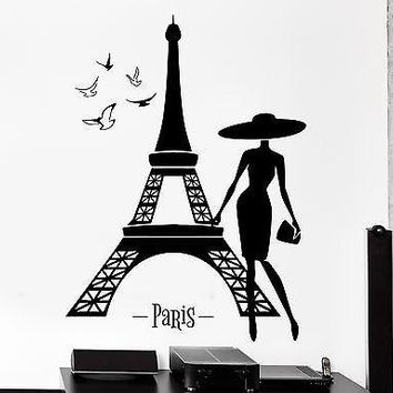Wall Decal Paris France Eiffel Tower Sexy Girl Birds Vinyl Decal Unique Gift (z3137)