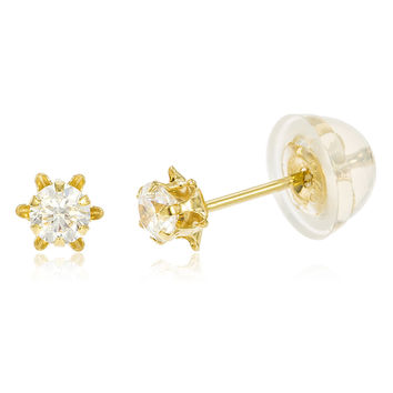 14k Yellow Gold Buttercup 3mm Six Prong Stud Earrings with Silicone Back