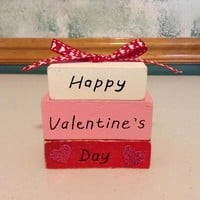 Valentine's Day Decor, Rustic Distressed Stacked Wooden Blocks, Valentine's Gift, Happy Valentine's Day Decoration, Home Decor
