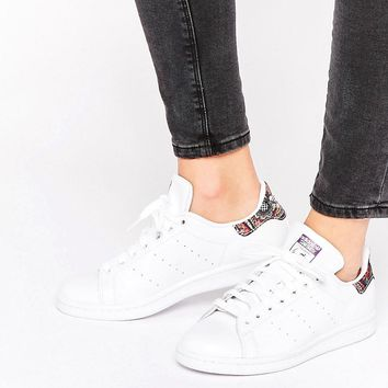 Adidas | adidas Originals X Farm White Stan Smith Sneakers With Crochet Print Detail at ASOS