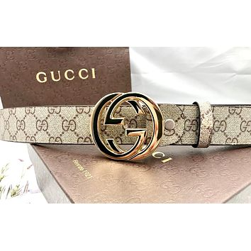 GUCCI Tide brand men and women classic embossed smooth buckle belt