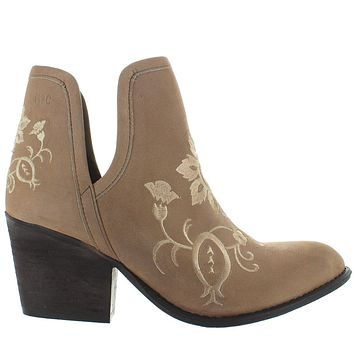 Musse & Cloud Ambar - Taupe Leather Embroidered Western Ankle Bootie