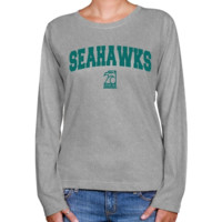UNC Wilmington Seahawks Ladies Ash Logo Arch Long Sleeve Classic Fit Tee