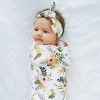 Infant Swaddle Blankets and Headband Sets