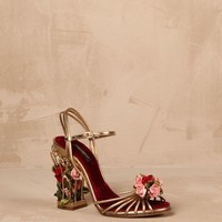 Flower-embellished cage bianca sandals Women - Shoes Women on Dolce&Gabbana Online Store United States - Dolce & Gabbana Group