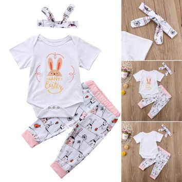Infant Newborn Baby Girls Romper Playsuit+Pants Jumpsuit Bodysuit Clothes Outfit Happy Easter
