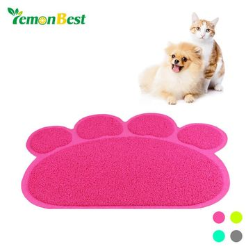 LemonBest Paw PVC Pet Dog Cat Feeding Mat Pad Pet Dish Bowl Food Water Feed Placemat Puppy Bed Blanket Table Mat Wipe Cleaning