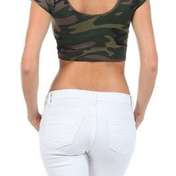 Women Multi Printed Scoop Neck Cropped Tee Shirts Top Stretchy Tight T-Shirt