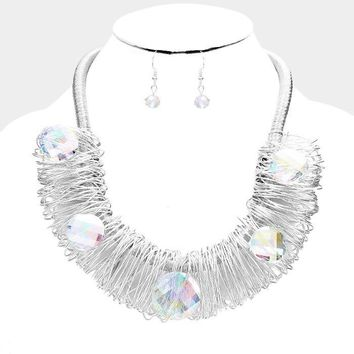 "18"" silver wire wrap ab crystal collar necklace 1.25"" earrings"