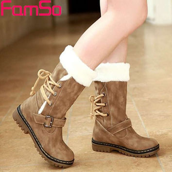 Mid-Calf Round Toe Lace-Up/Double Buckle Women's Winter Boots