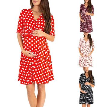 Women's Maternity Vneck Tie Poke-a-Dot Dress