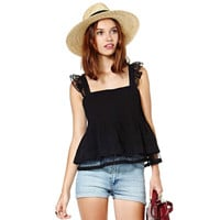 Hot Stylish Comfortable Beach Bralette Summer Sexy Double-layered Glass Ruffle Spaghetti Strap Lace Decoration Vest [4919478788]