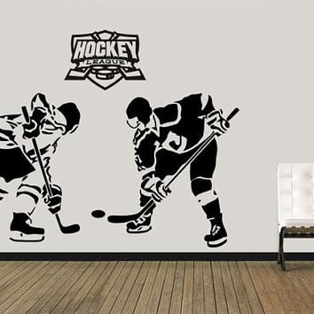 Hockey Wall Decal, Hockey Wall Stickers, Hockey Decor, Sports Room Decor, Kids Decor, Garage Wall Decal, Playroom Decal, Hockey stick / i18