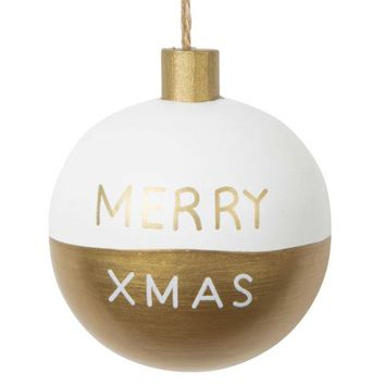 CHRISTMAS GOLD white/gold wooden bauble 7 cm | Maisons du Monde