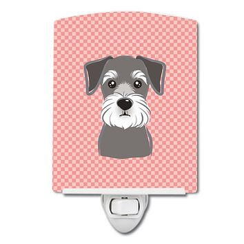 Checkerboard Pink Schnauzer Ceramic Night Light BB1206CNL
