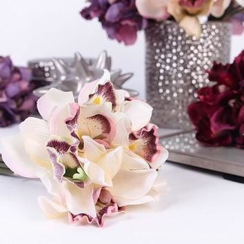 "Silk 7 Cymbidium Orchid Bouquet in 5 Various Colors 9"" Tall"