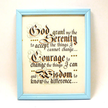 serenity prayer, religious wall art, framed print, god, christian, prayers, typography, vintage print, aqua, upcycled frame, picture frames