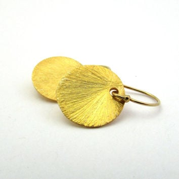 GOLD DISC EARRINGS, Gold vermeil jewelry, Brushed disc earrings, vermeil sunburst drops, gold dangle earrings, gold minimalist jewelry