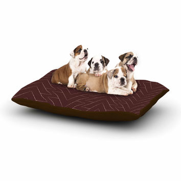 "Julia Grifol ""Brown Triangles"" Maroon Pattern Dog Bed"