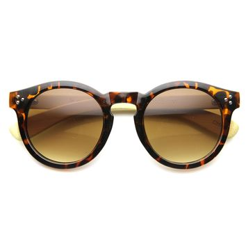 Eco Friendly Bamboo Wood Temple Round Horned Rim Sunglasses 9804