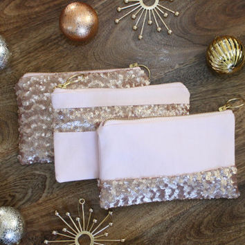 Blush Pink Sequins Clutch / Rose Gold Cosmetic Case / Bridesmaid Gift - Choice of Style & Fancy Zipper Pull - Almquist Design Studio