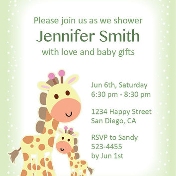 Giraffe Baby Shower Invitation, Personalized, Digital and Printable