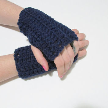 Navy Blue Wrist Warmers, Crochet Simple Fingerless Gloves, FREE US SHIPPING, Driving Gloves, Texting Gloves, Christmas Gift, Dark Blue