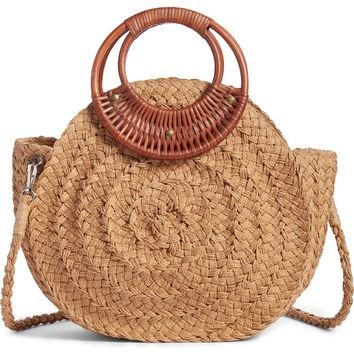 Violet Ray New York Wood Handle Straw Bag | Nordstrom
