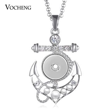 10pcs/lot Vocheng Snap Button Jewelry 18mm  Sailor Anchor Ginger Snap Button Style  Charms Pendant Necklace NN-624*10