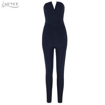 Adyce 2018 Elegant Women Long Jumpsuit Sexy Black Strapless Celebrity Party Rompers Sexy Backless Club Jumpsuits Bodysuit