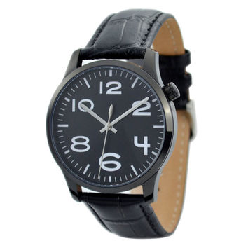 Men's Minimalist Watch Black with oversize numbers - Free shipping