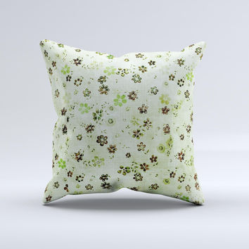 Vintage Green Tiny Floral Ink-Fuzed Decorative Throw Pillow