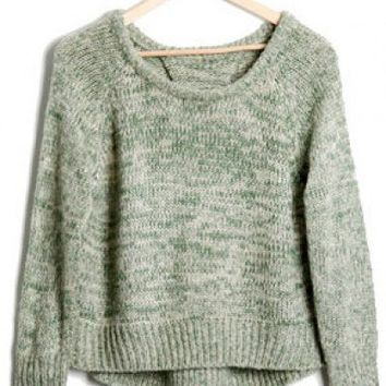 Round Neck Green long sleeve irregular pullover   style dd92500102 in  Indressme
