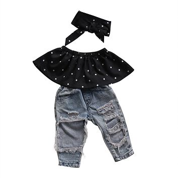 Cute Newborn Infant Baby Girls Dot Wrapped Chest +Bog Hole Jeans Pants Outfits Toddler Girls 3Pcs Summer Clothing Set