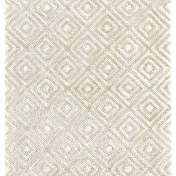 Cut Diamond Silver Tufted Wool/Viscose Rug