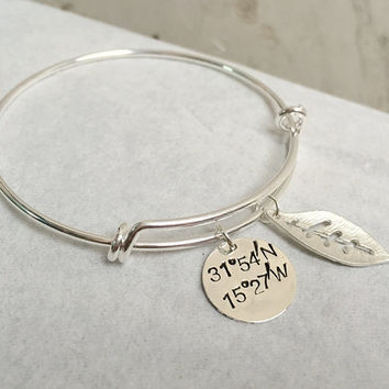 Silver leaf Bracelet, Silver Latitude longitude bracelet, leaf pendant bracelet, Latitude longitude, Bridesmaid Gift ideas, sterling silver